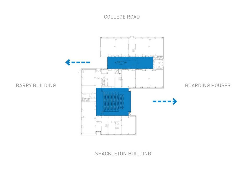 The S-shaped plan of the science block showing atrium and auditorium.
