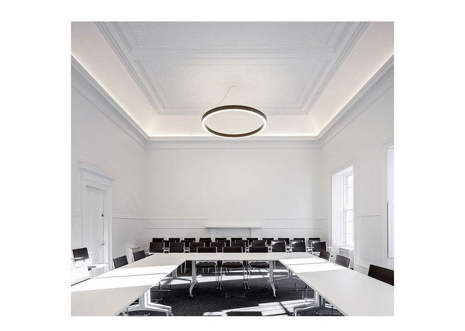 The Saltoun Centre's restored, upgraded and white-painted Council chamber.