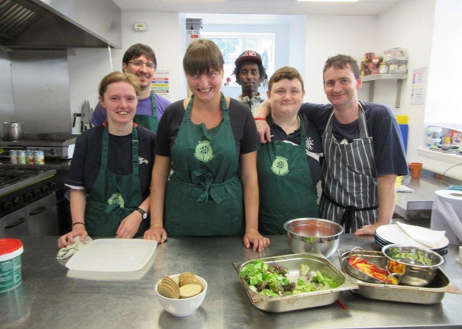 Volunteers in the kitchen. MacEwen Award 2019 commended Bridgend Inspiring Growth, Edinburgh by Halliday Fraser Munro Architects for Bridgend Inspiring Growth