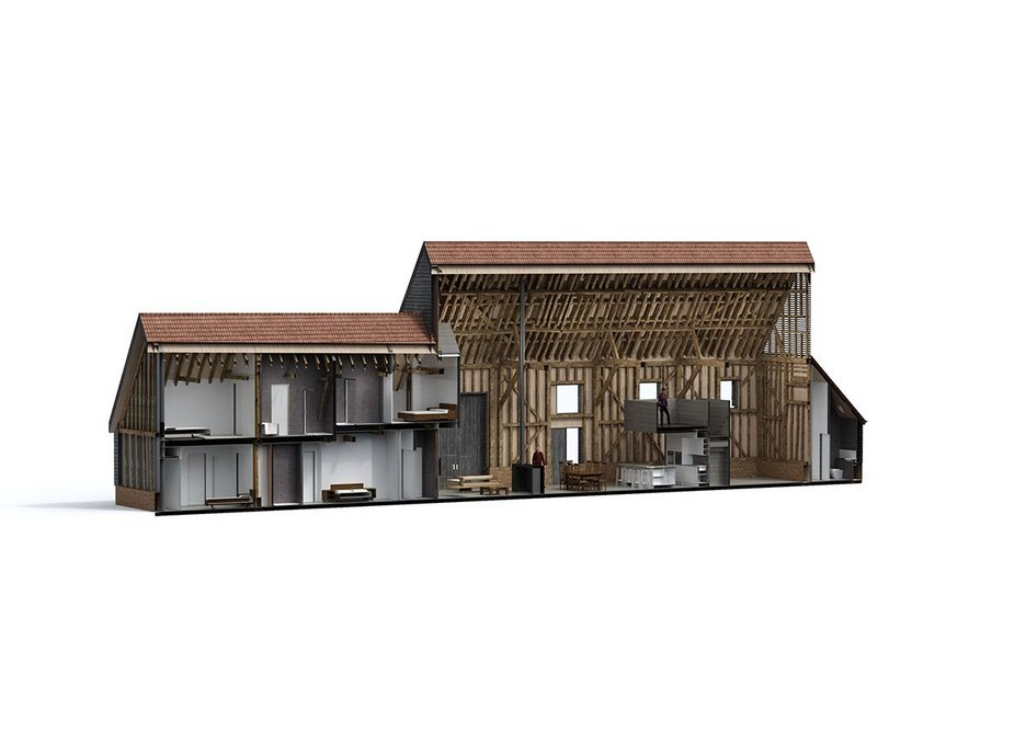 Point cloud scanning was the starting point for a BIM enabled refurbishment of Anstey Hall Barns by David Miller Architects.