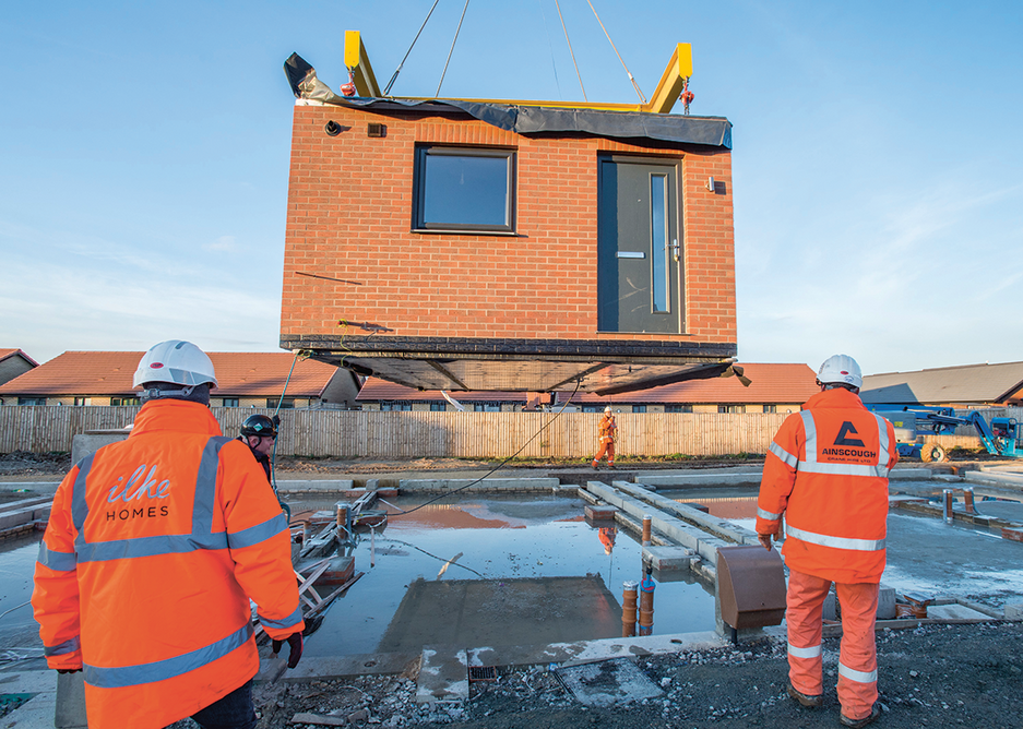Architecture as product design: a module being craned into Ilke Homes' Hawthorne Avenue development in Hull.
