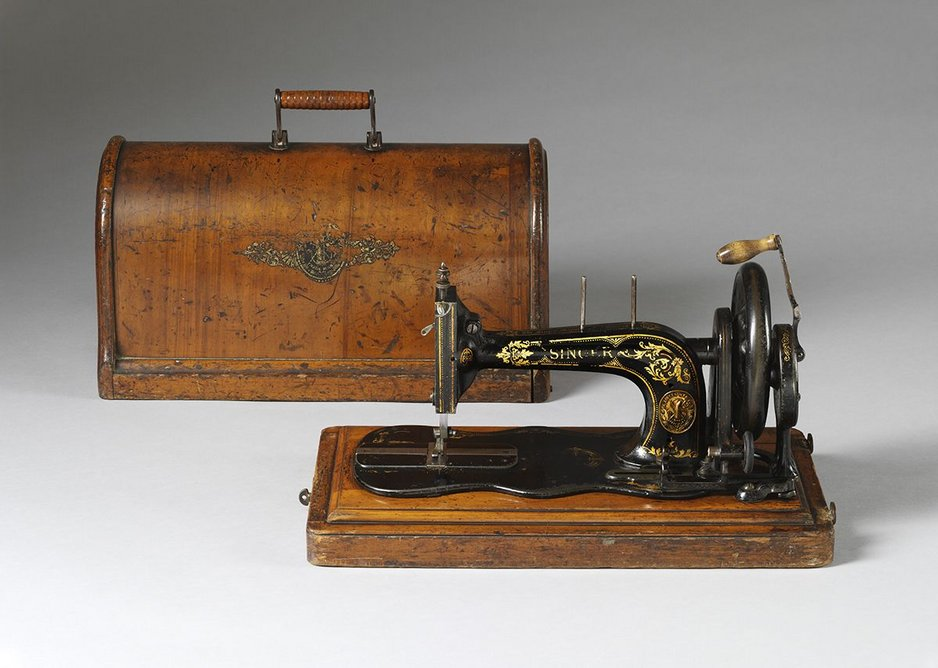 Singer Sewing machine with plywood box, 1888.