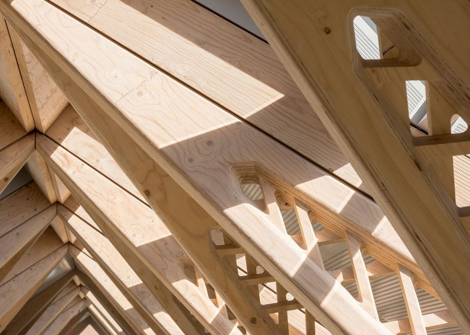 Beams are solid at the ends where the greatest strengths are needed.