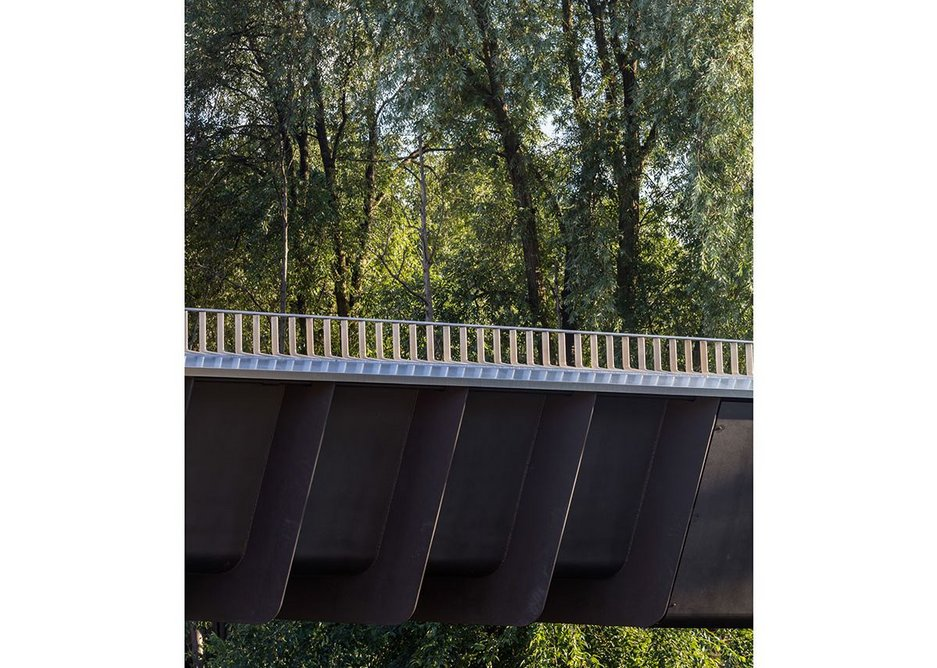 Somers Town Bridge in King's Cross has a deck of just 15mm of steel strengthened by the fins below.