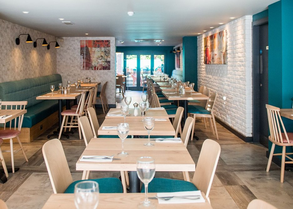Interface lightweight vinyl proved a viable alternative to real timber and stone in Prezzo's Winchester branch.