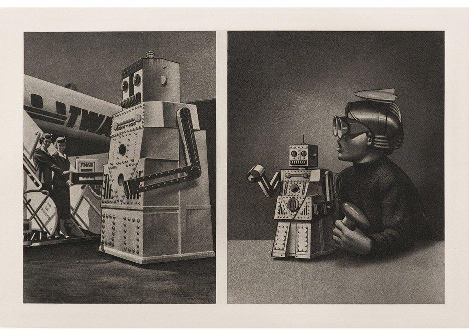 Eduardo Paolozzi Le Robot Robert Voulait Aller a New York Mais Le Passenger Est Trop Lourd / TWA Plain-Steps-Cap 14 Persons with two Stewardesses and Wonder Toy (from the Cloud Atomic Laboratory portfolio), 1971. Photogravure, courtesy C L E A R I N G New York / Brussels.