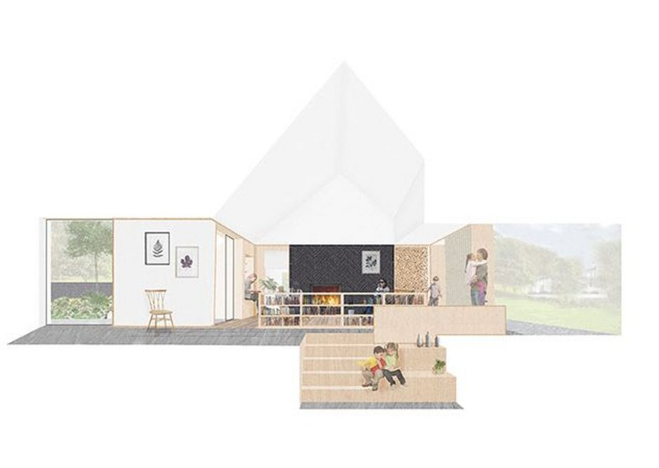 And the living space of Galen in Aberaenon designed by Rural Office for Architecture.