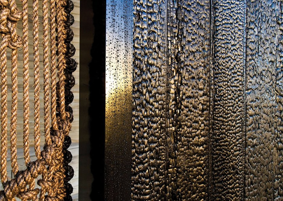 The different charred timber finishes.