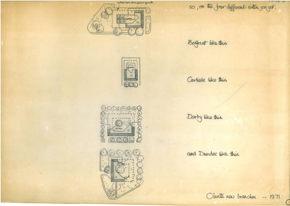 Cullinan's sketches of the different site layouts.