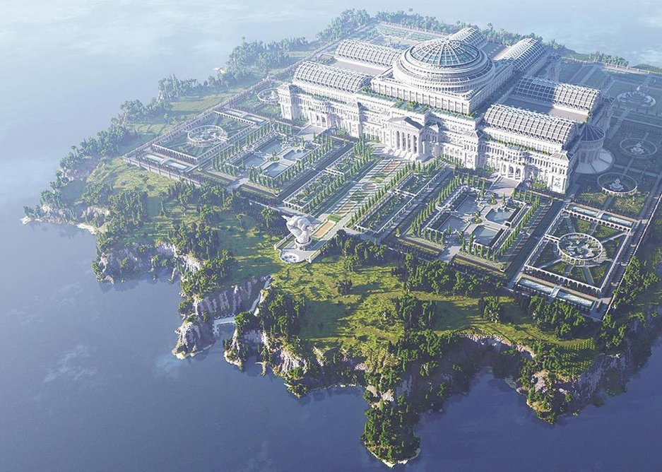 The Uncensored Library, located on an island within the Minecraft game. Designed by Reporters Without Borders in collaboration with DDB Germany with architecture by blockworks, the library was created by 24 builders from 16 countries.