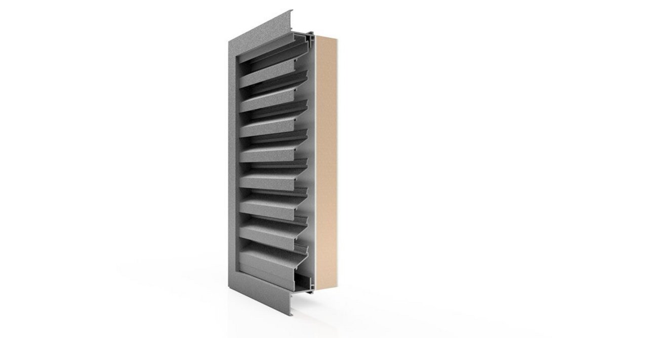 Renson 411 ventilation louvre with thermal backing panel.