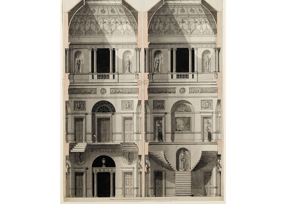 Finished drawing showing sections of the stairwell at 20 Portman Square, c1775.