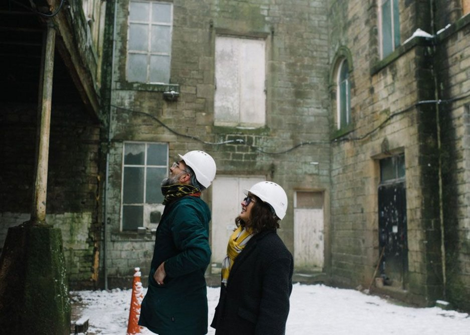 Gittner and Appleyard inspect Old Town Mill, residential project starting on site now. Credit Sarah Mason.