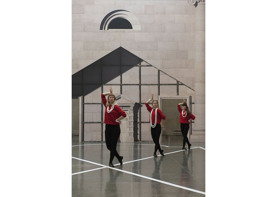 The three dancers in front of an adaptation of the Clore Gallery entrance, Pablo Bronstein,  Historical Dances in an Antique Setting.