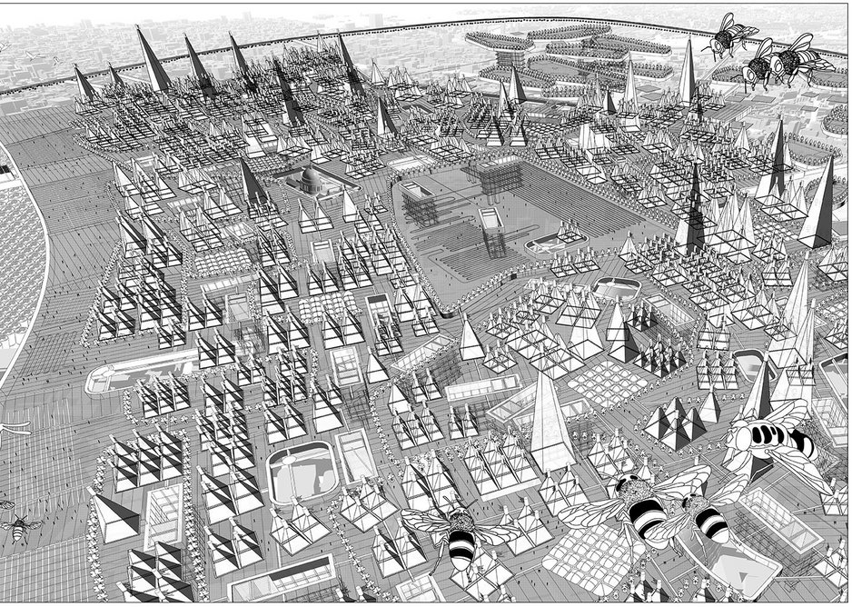 The Food Parliament: Aerial View by CJ Lim, Studio 8 Architects. CJ Lim's PhD research was entitled From Smartcity to the Food Parliament: an investigation into the urban sequences of food transparency.