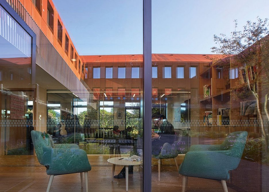 The 'inner garden' of the new building, which is overlooked by ground floor teaching facilities. Above these are student bedrooms.