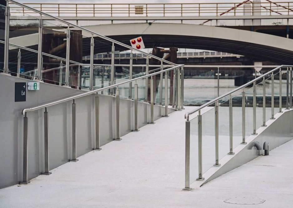 Toughened glass infills help protect passengers from river breezes.