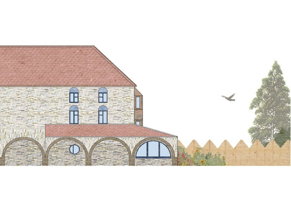 A repeatable arched base at street level is inspired by medieval buildings in French town squares.