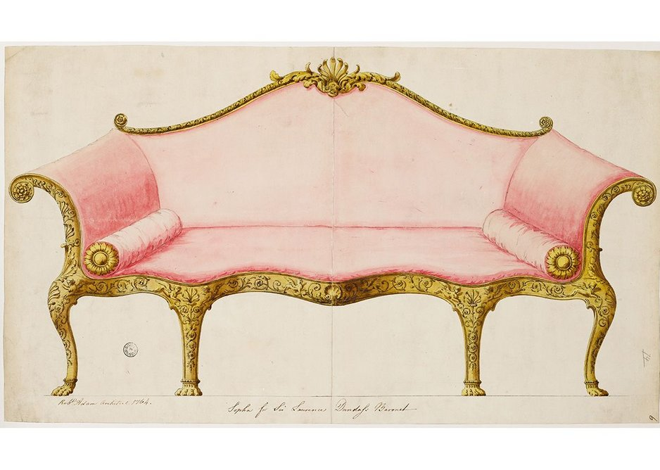 Finished drawing showing a sofa for the saloon at 19 Arlington Street, 1764.