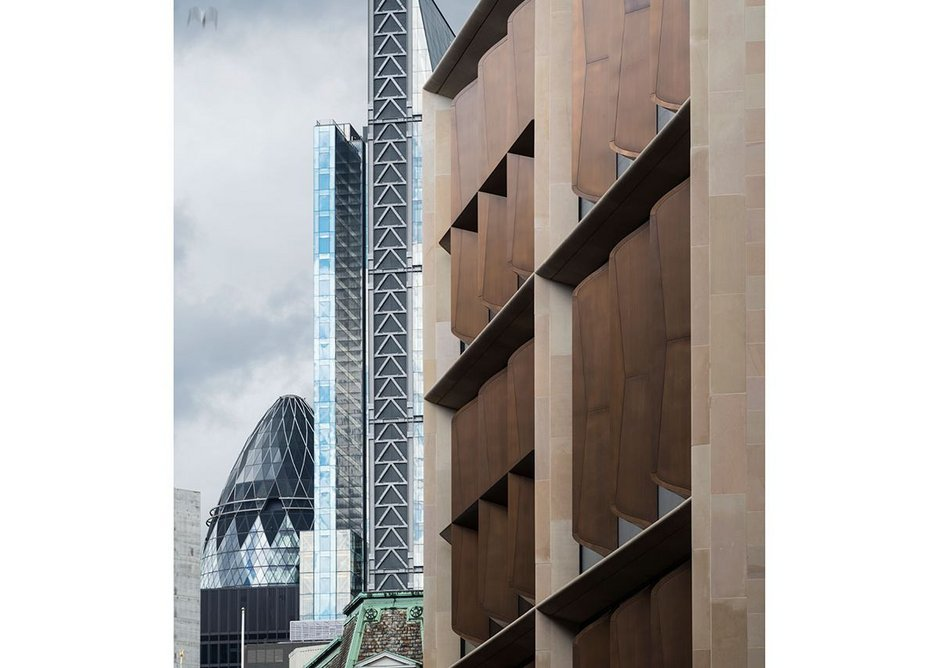 Bloomberg_ details of the bronze which allow natural ventilation.