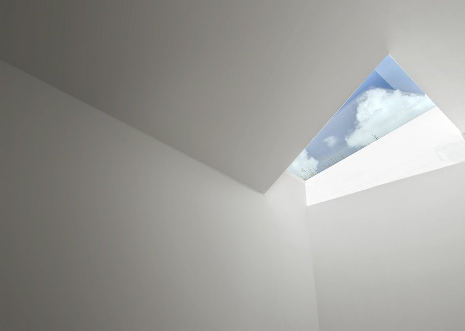One of the rooflights slicing into the timber shell.
