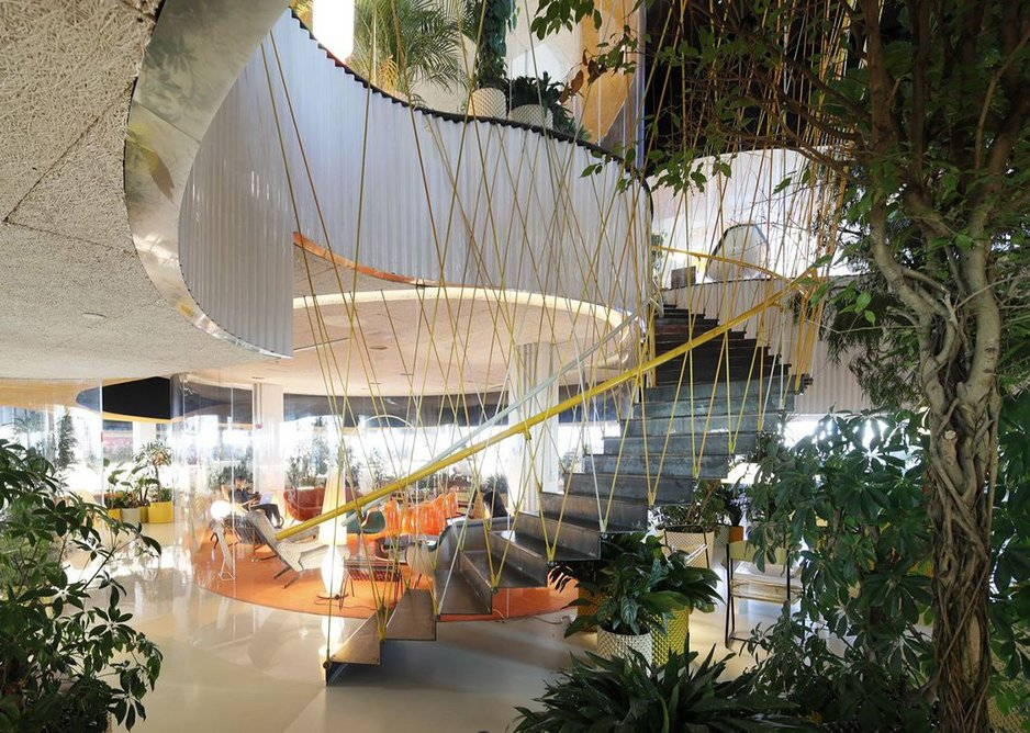 A new hanging stair designed by SelgasCano sways as you walk up.