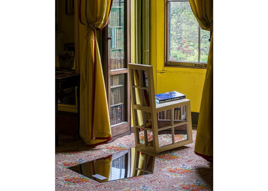 Installation of The Return of the Past: Postmodernism in British Architecture showing Charles Jencks' Window Seat.
