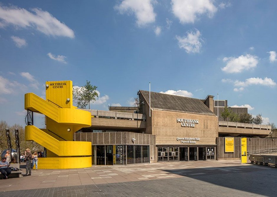 Queen Elizabeth Hall and Purcell Room entrance with new glazed corner to the foyer.