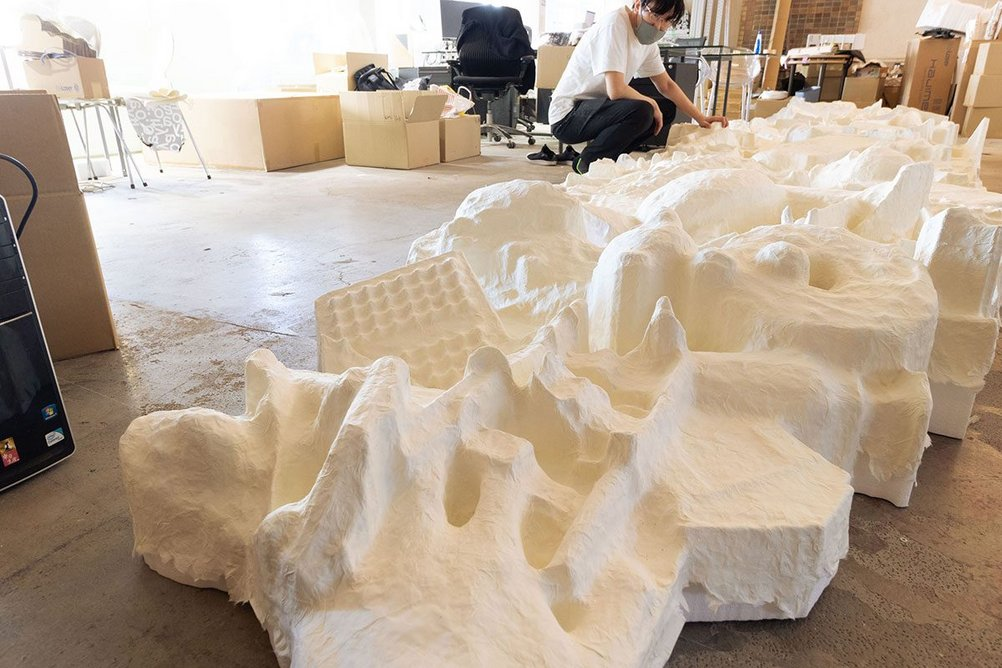 Construction of Reinventing Texture, the Japanese pavilion created by Toshiki Hirano at the London Design Biennale.