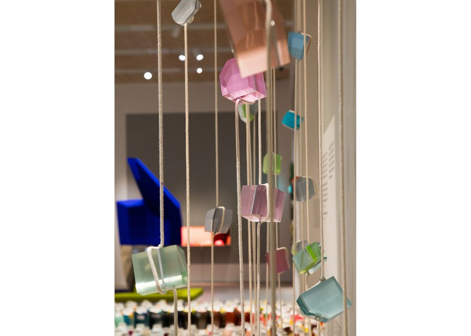 Breathing Colour by Hella Jongerius at the Design Museum with Crystal Beads installation in the foreground.