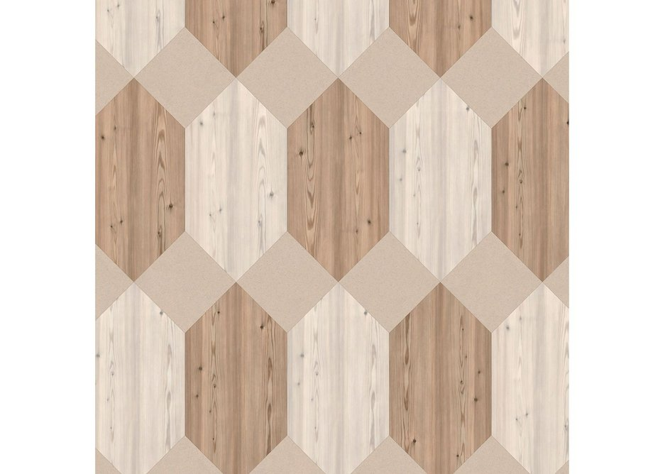 Sun: Polygon Key laying pattern with Chalked Pine, Neutral Pine and Mica Mix Eggshell.
