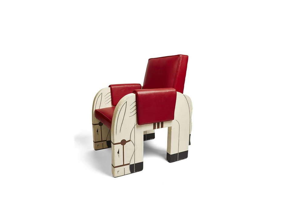 Children's chair from the first class playroom on Normandie designed by Marc Simon and Jacqueline Duch, France, 1934, Miottel Museum Berkeley California. From the V&A exhibition Ocean Liners: Speed and Style, 3 February - 17 June 2018.