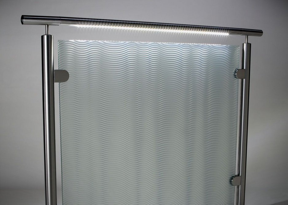 HDI Circum railing system with LED feature and speciality resin panel.