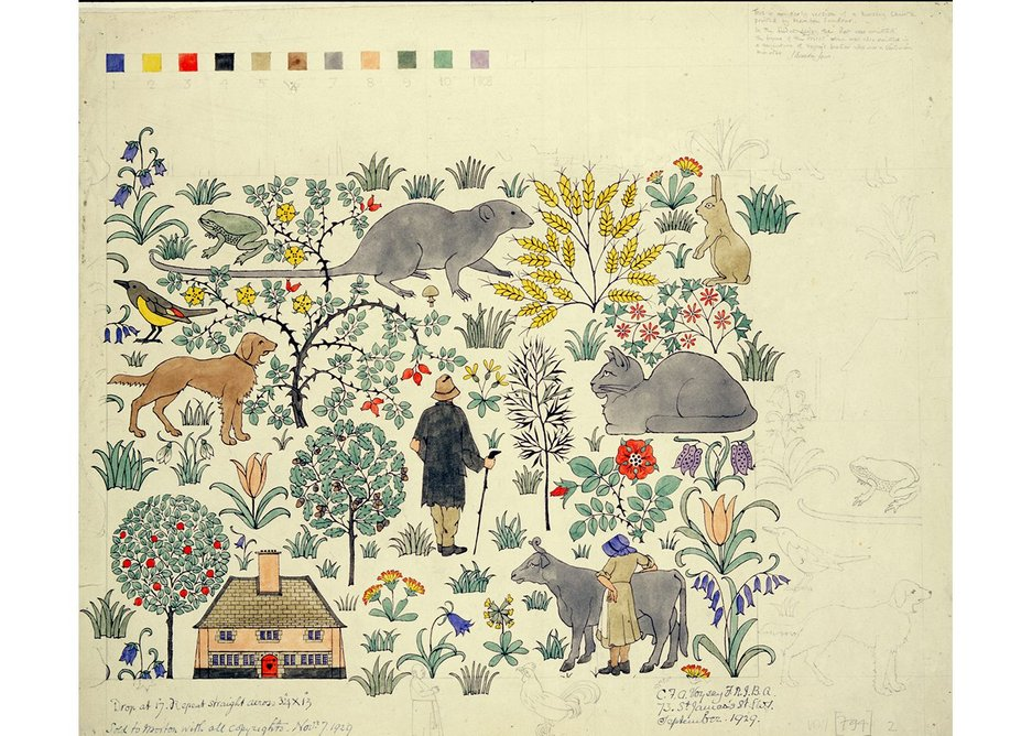 CFA Voysey, Design for a Nursery Chintz, The House that Jack Built, 1929.