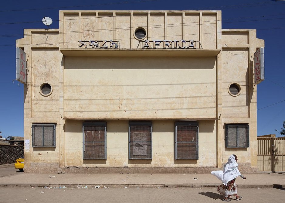 The trappings of modern life, given modernist expression in Asmara: at a cinema