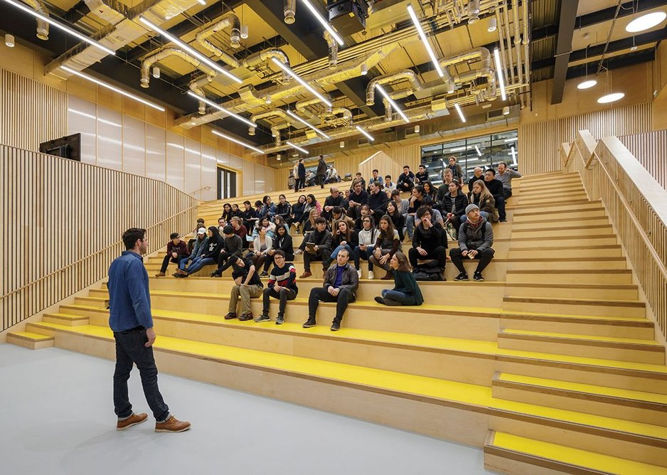 The main auditorium operates as a multi-use venue for lectures, crits, performances and other uses. Extensive use of plywood is combined with bright rubber flooring.