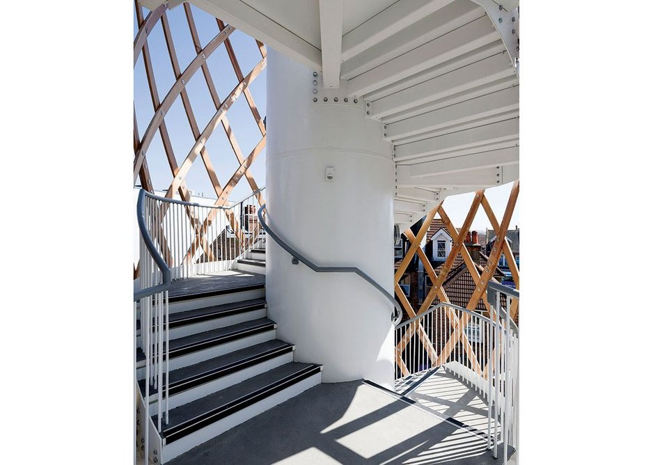 The lattice adds delicacy to the stair's solid D&B engineering.