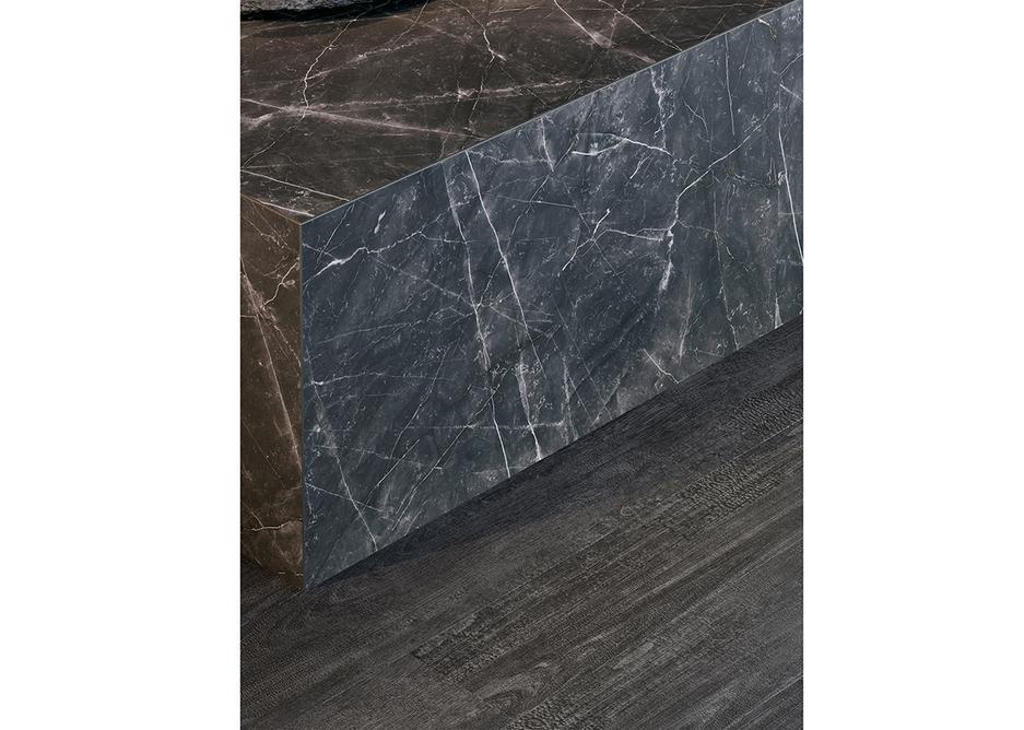Tarkett iD Inspiration Marquina Grande and Charred Wood Naturals LVT flooring.
