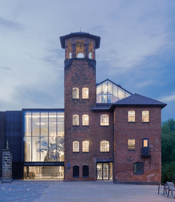 The former Derby Silk Mill with its tower has expanded sideways with its new Civic Hall and upwards with a glazed belvedere called The View.
