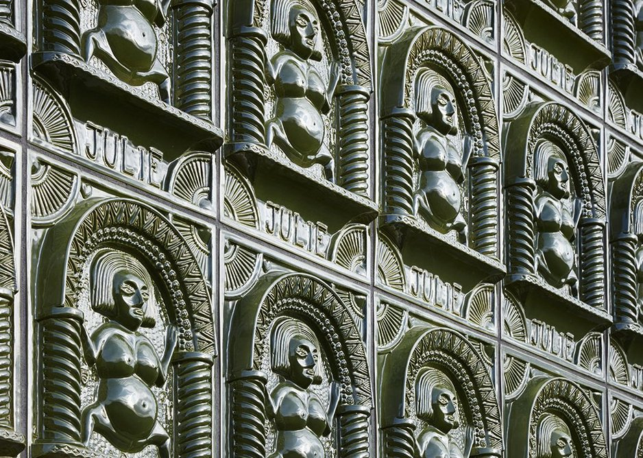 Cast ceramic tiles on A House for Essex, designed by Grayson Perry and FAT Architecture.