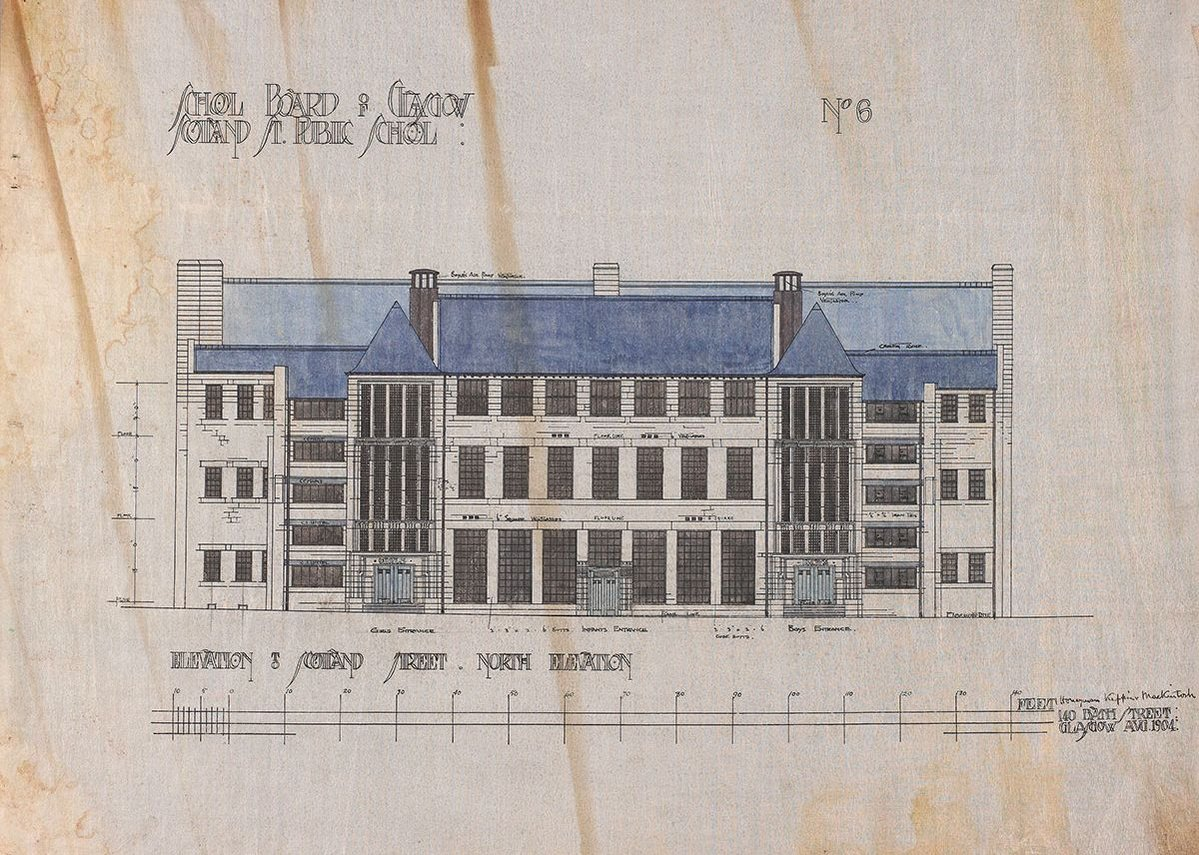Charles Rennie Mackintosh Scotland St School North elevation, 1904