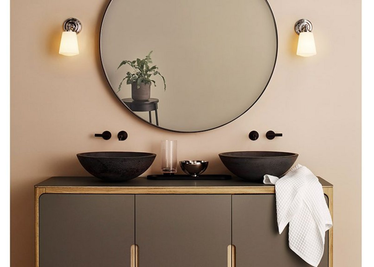Round basins (here in Black) can double up for a twin console solution.