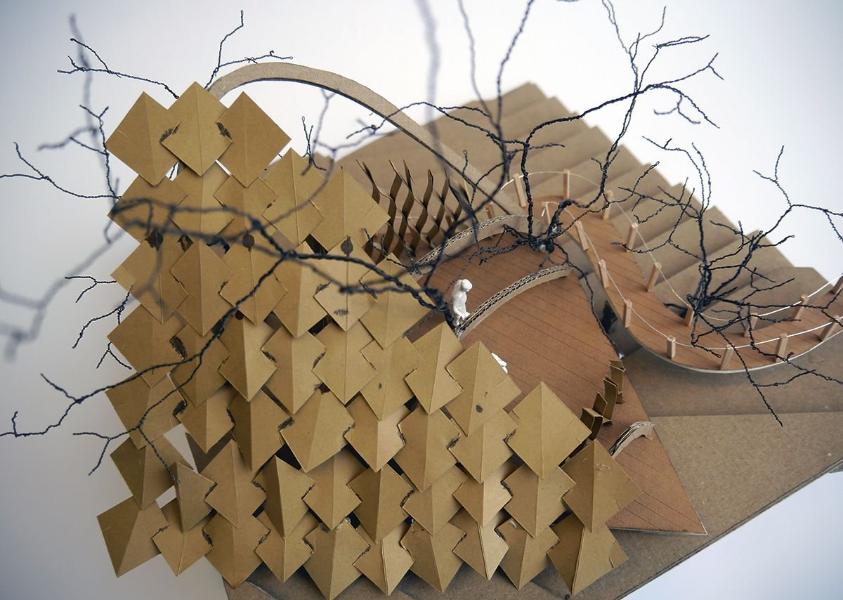 First year live projects – a treehouse for Stansfield Park. Jessica Gardner's models.
