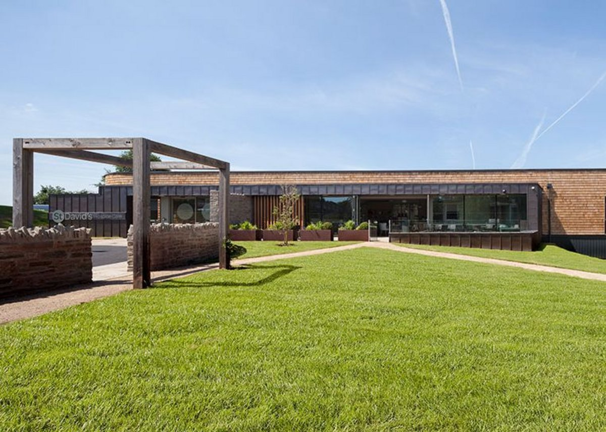 Main entrance. MacEwen Award 2019 shortlisted KKE's St David's Hospice Inpatient Unit, Newport, Wales.