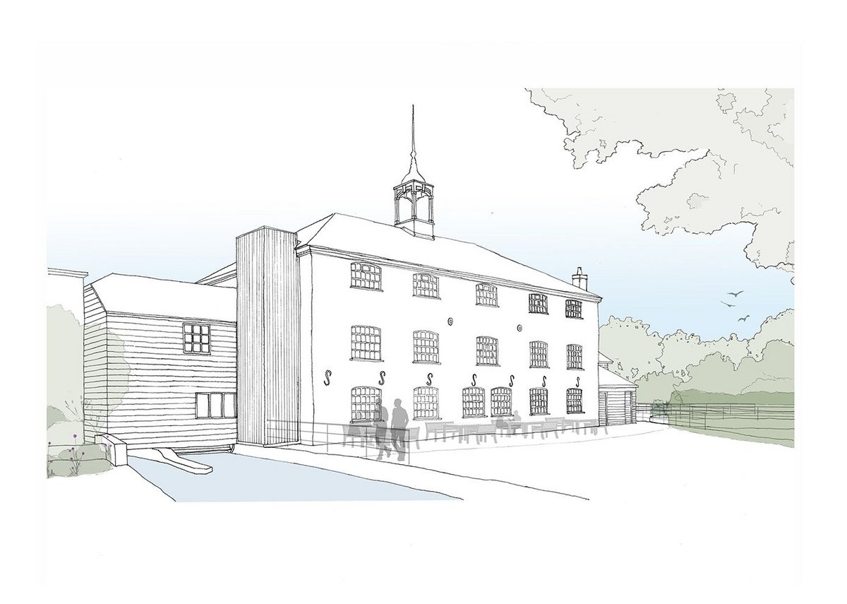 Sketch view of the external lift shaft at Whitchurch Silk Mill, a Georgian water mill that weaves silk using 19th century machinery.