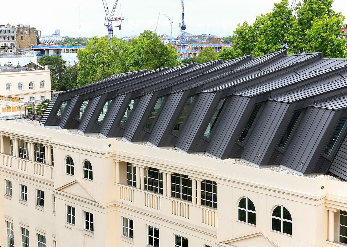 Anthra-Zinc Plus standing steam roof at the Which? headquarters, Marylebone. KPF architects.