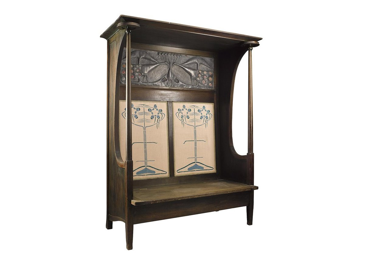 Settle designed by Charles Rennie Mackintosh, 1895, in the Decorative Arts section.