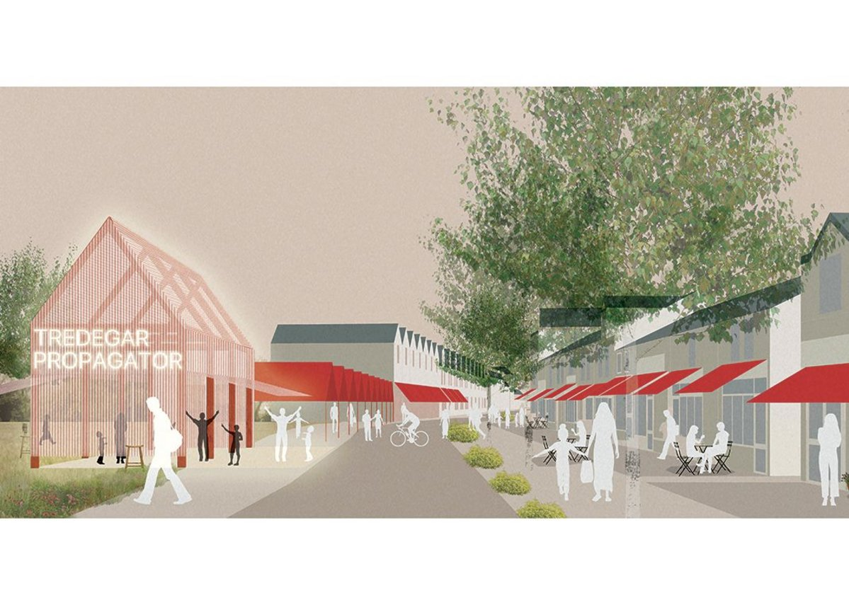 Rural Office for Architecture's proposed pedestrianised high street includes places for business innovation and start-ups.