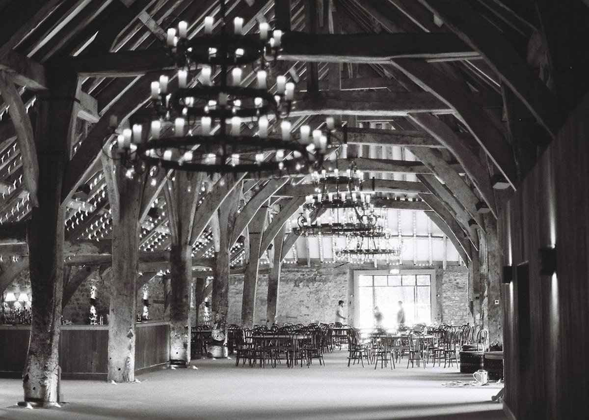 Oaks as structural trees march down the space. The Great Barn, Bolton Abbey, Skipton. Pearce Bottomley Architects, RIBA regional award and regional conservation award 2019. Credit Thomas Robbins