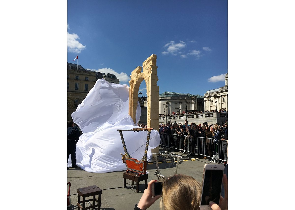 The replica of the Palmyra Victory Arch was unveiled in Trafalgar Square on 19 April 2016.